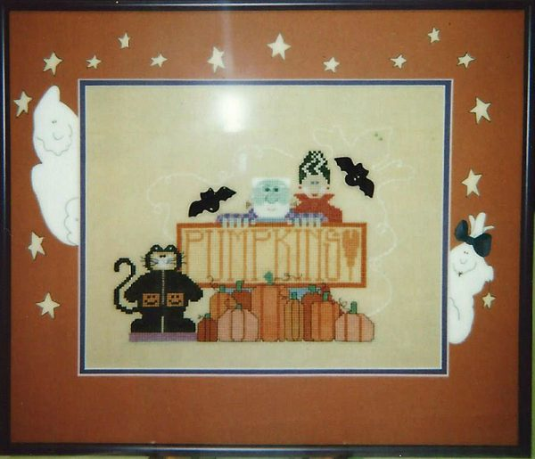 Hand Painted Mat Halloween Cross Stitch Sample